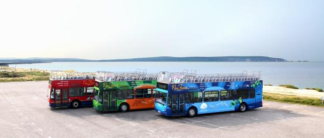 Three brightly coloured tour busses in an empty car park with sea view