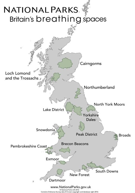National Parks UK map