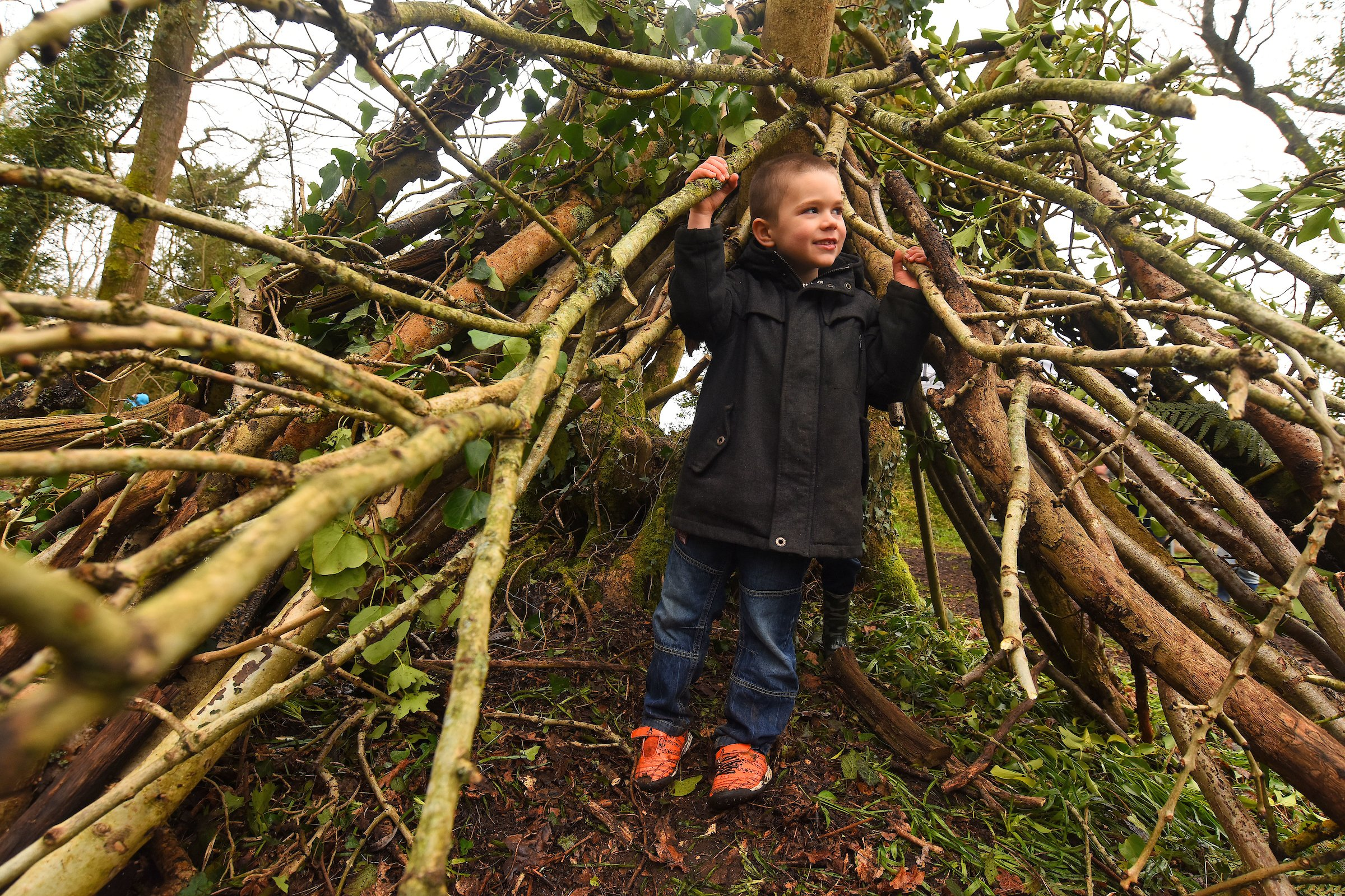 Den building at the Holbury Manor wild play site opening April 2018