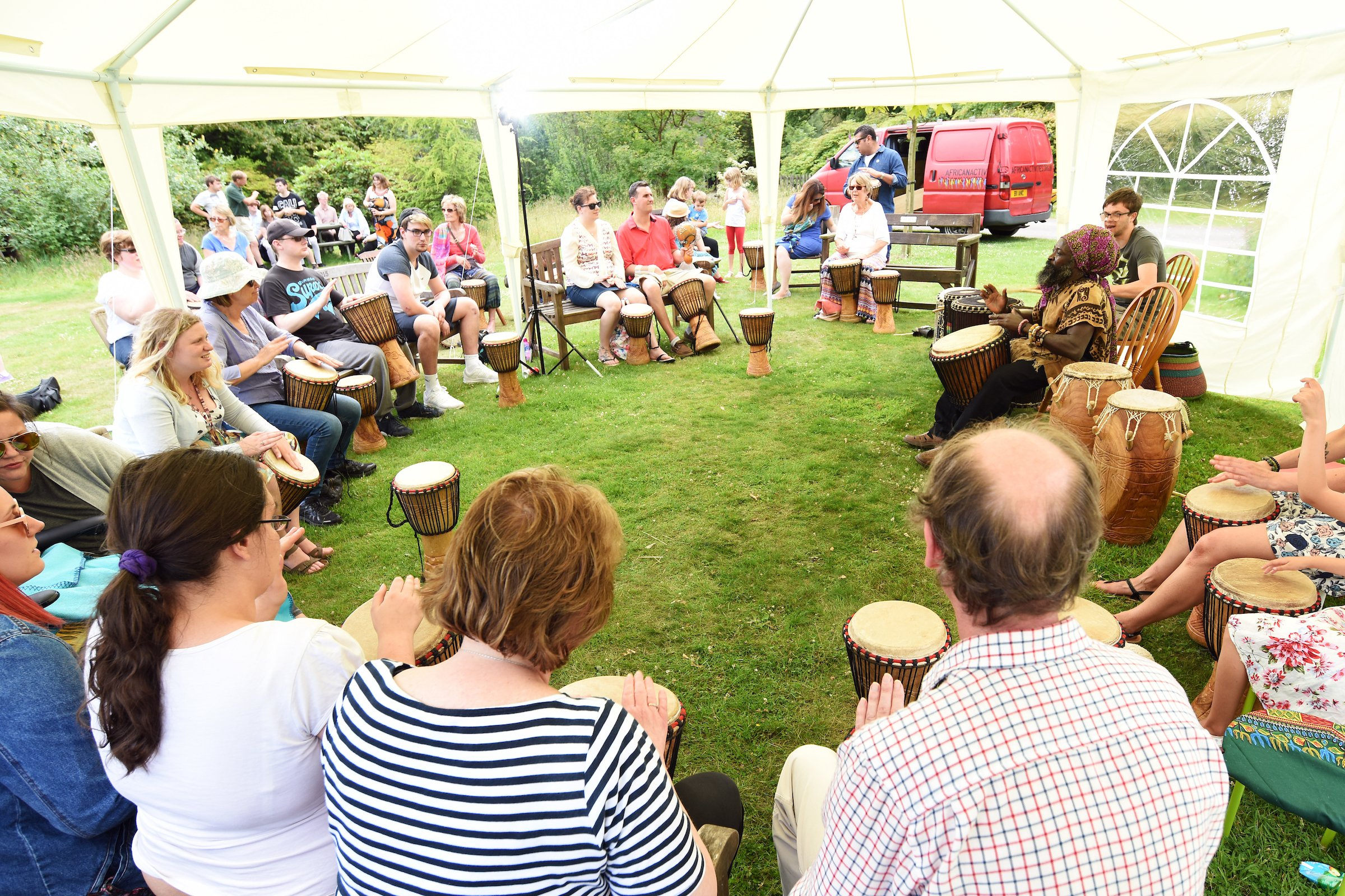 Drumming workshop with Kwambe at Furzey Gardens for the 2017 Arts Festival