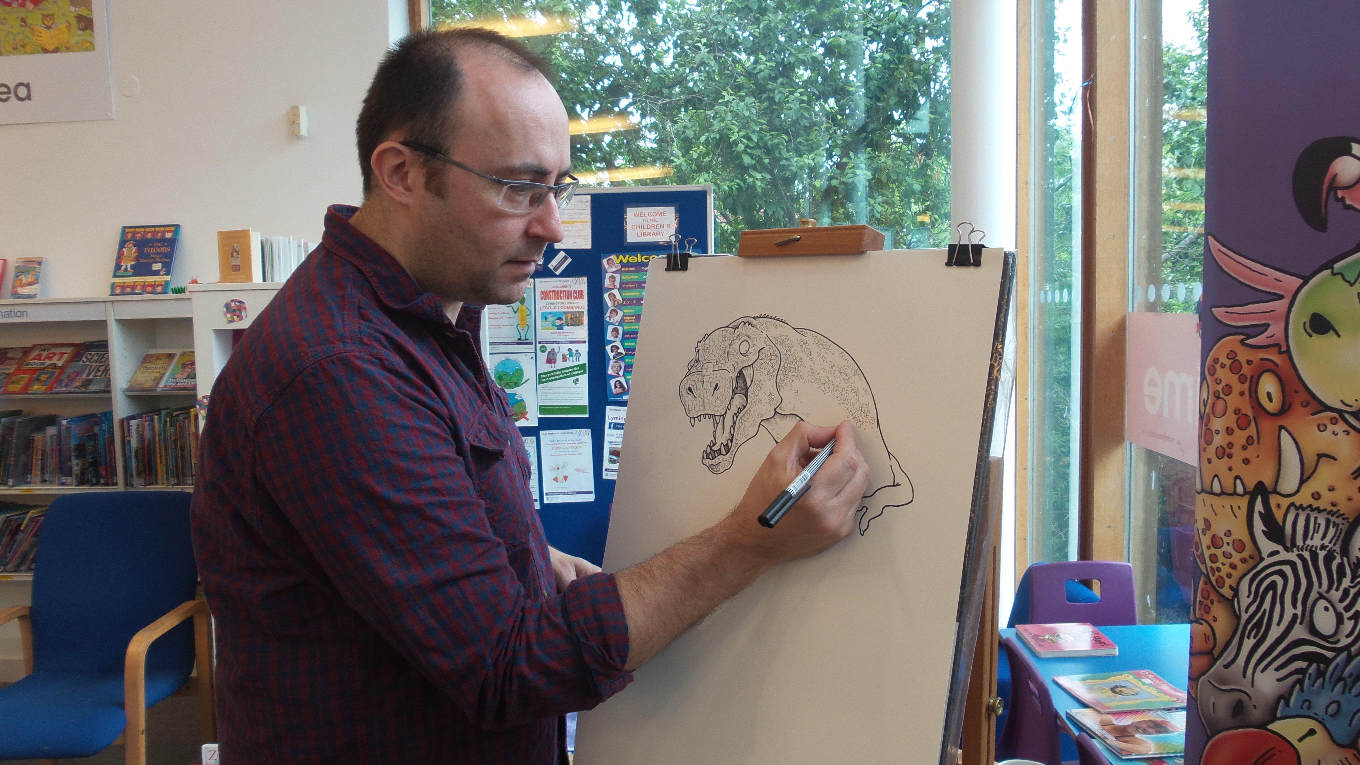 Simon Chadwick drawing at Lymington Library on Saturday 11 June