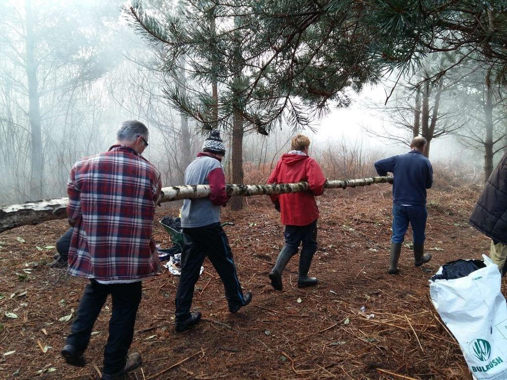 Working woodland volunteers in Harrow Wood