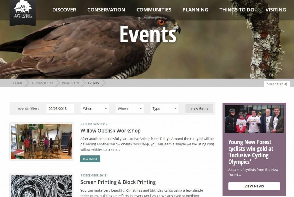 Events page snippet