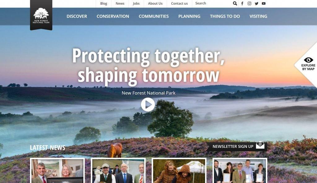National Park website homepage snip