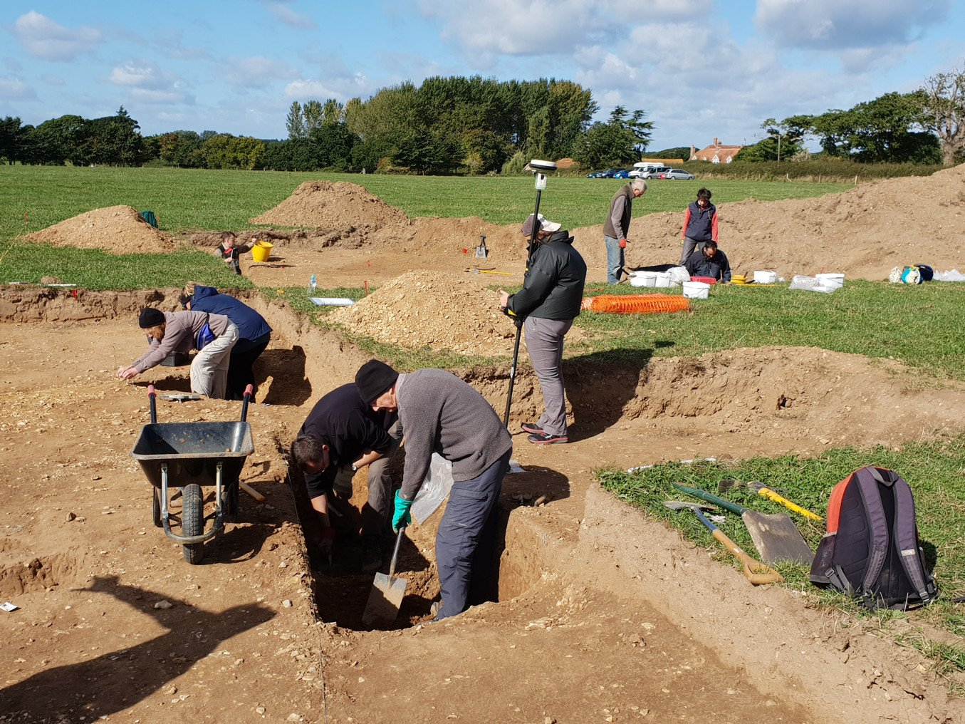 People work on an archaeological site