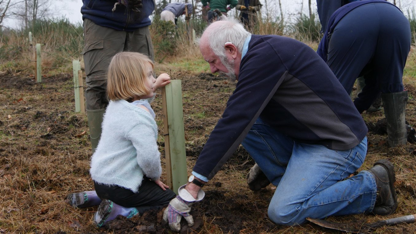 A man helps a young girl plant a tree sapling
