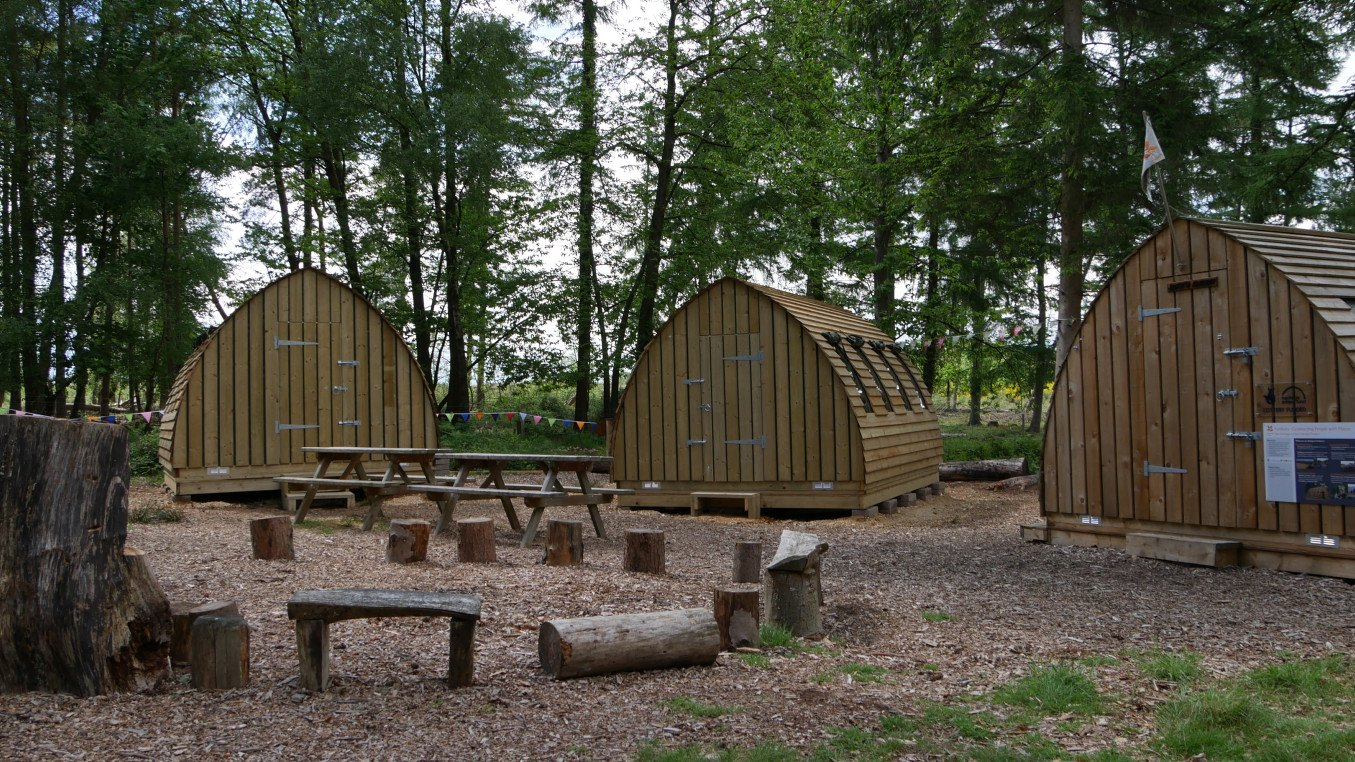 Wood cabins and seating in a woodland scene
