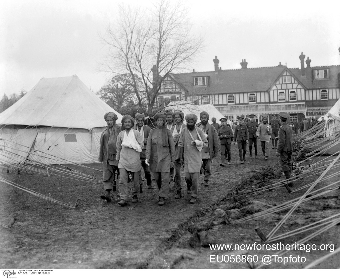Indian patients returning to tented accommodation in grounds of Forest Park Hotel, The Lady Hardinge Hospital for Wounded Indian Soldiers, Brockenhurst. 1914