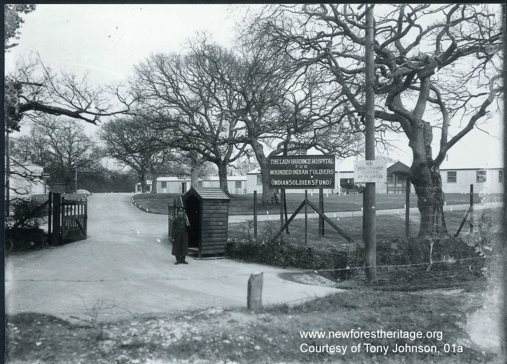 Main entrance to The Lady Hardinge Hospital for Wounded Indian Soldiers (Indian Soldiers Fund), Brockenhurst. 1914