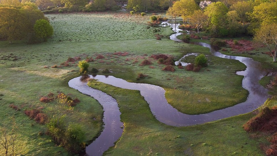 Aerial New Forest restored stream at Fletchers Water