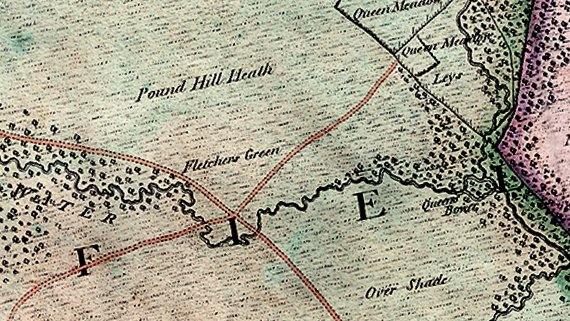 Fletchers Water Drivers Map 1814 showing natural pattern