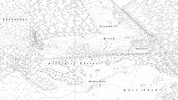 Fletchers Water 2nd Ed OS map 1897 showing straightened drain