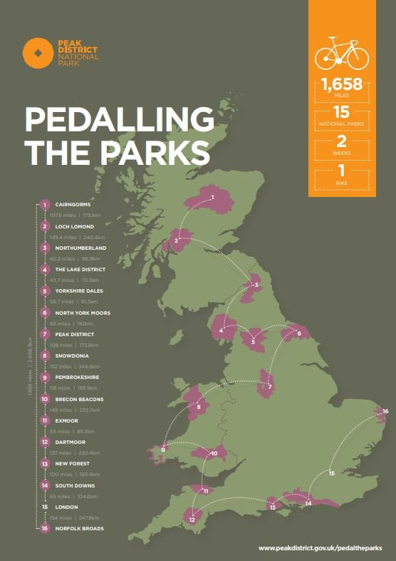 Pedalling the Parks map