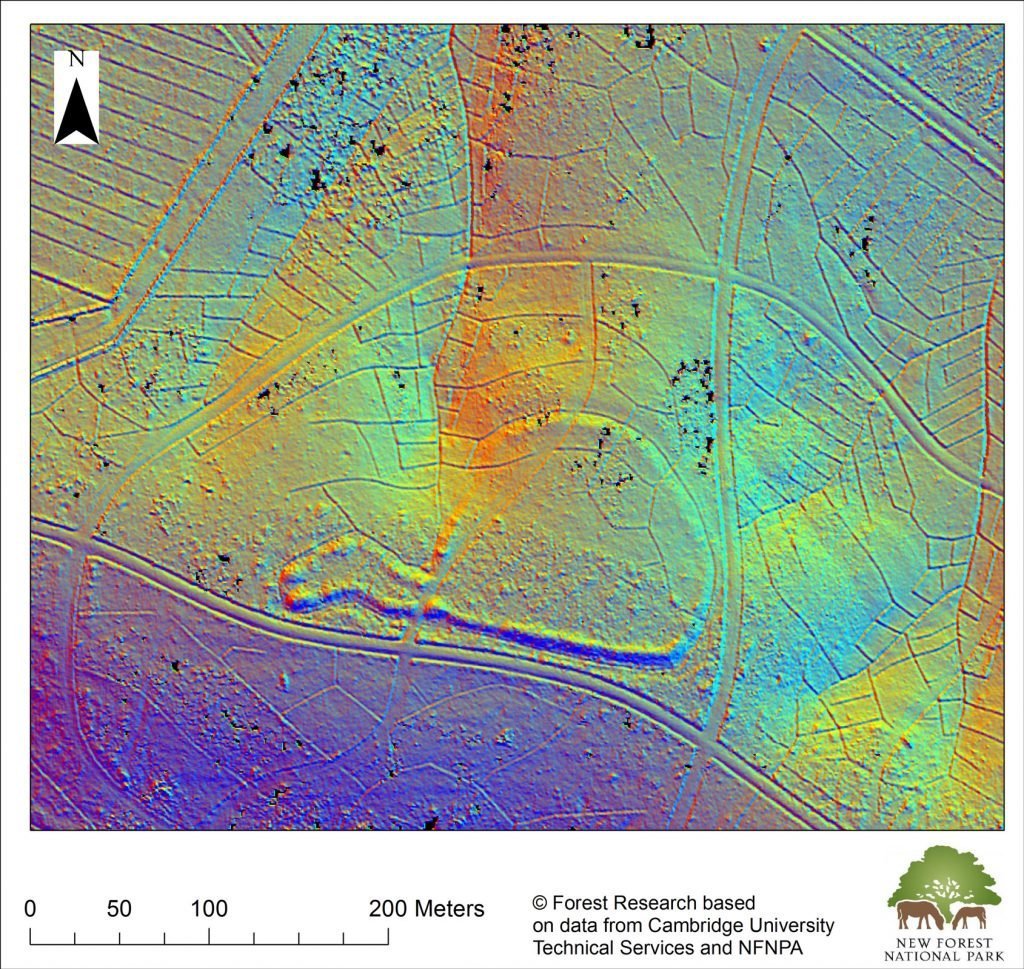 Lidar map of an Iron Age hill fort