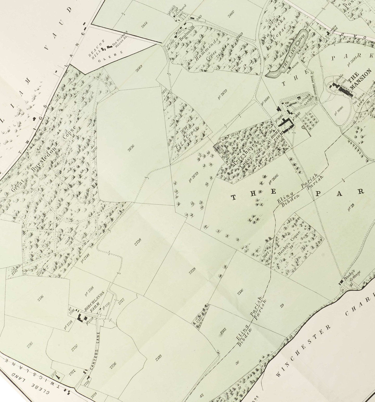 Close up section of a map
