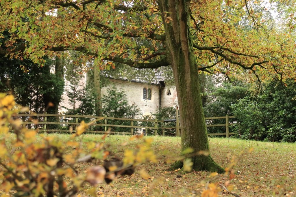 An historic property partially hidden from view by trees and shrubs