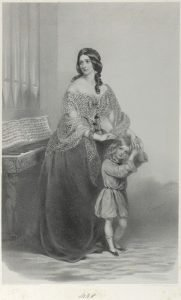 Historic portrait of a woman and a child