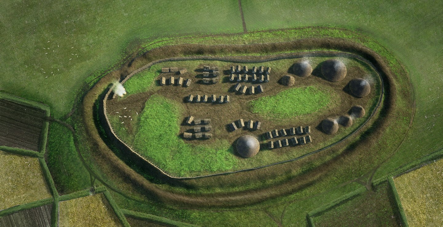Artist's illustration of an ancient hill fort