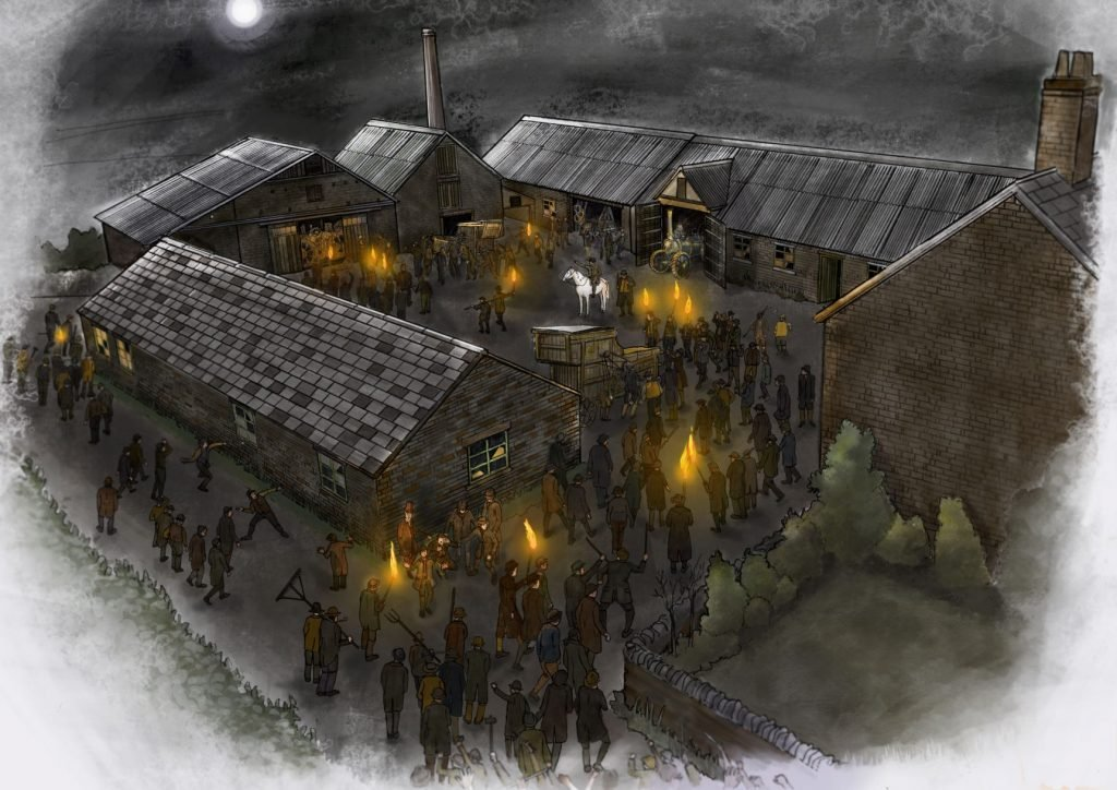 Drawing of people carrying torches and gathered around a courtyard of buildings at night.