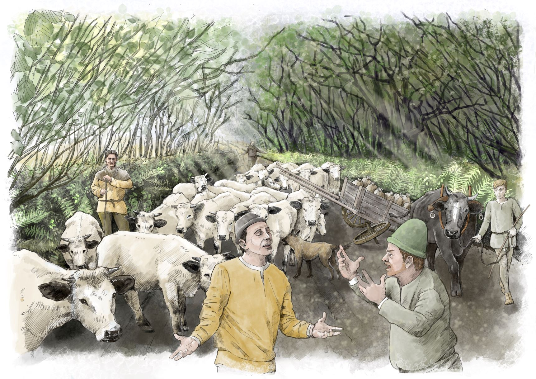 Drawing of farmers surrounded by cows and tall trees behind.
